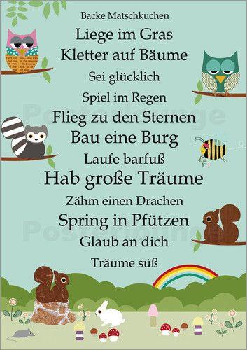 Geburtstagswünsche Zum 1 Geburtstag Von Den Großeltern  Poster Hab große Träume mit Tieren