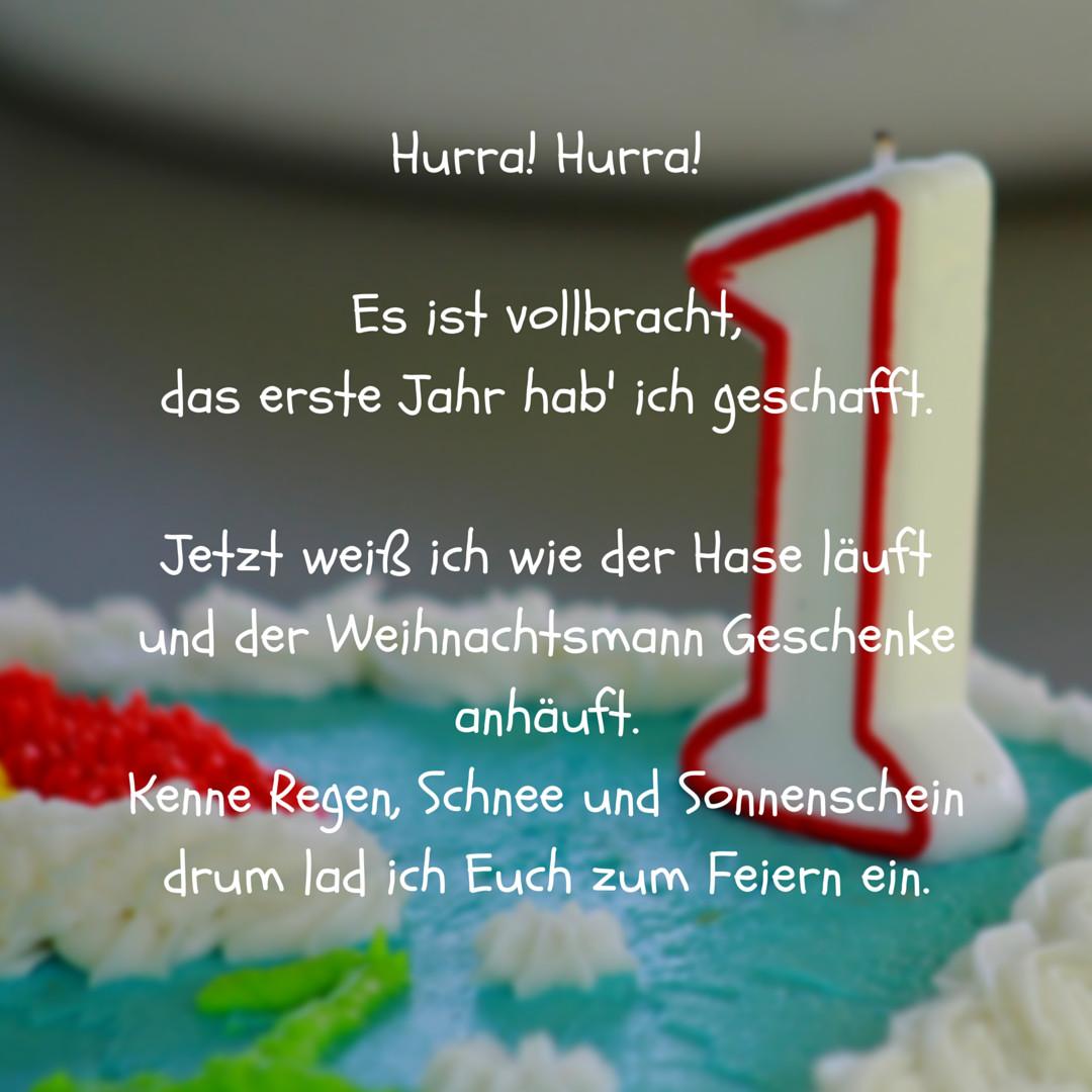 Geburtstagswünsche Zum 1 Geburtstag Von Den Großeltern  Hurra Erstes Jahr vollbracht als Spruch für Einladung