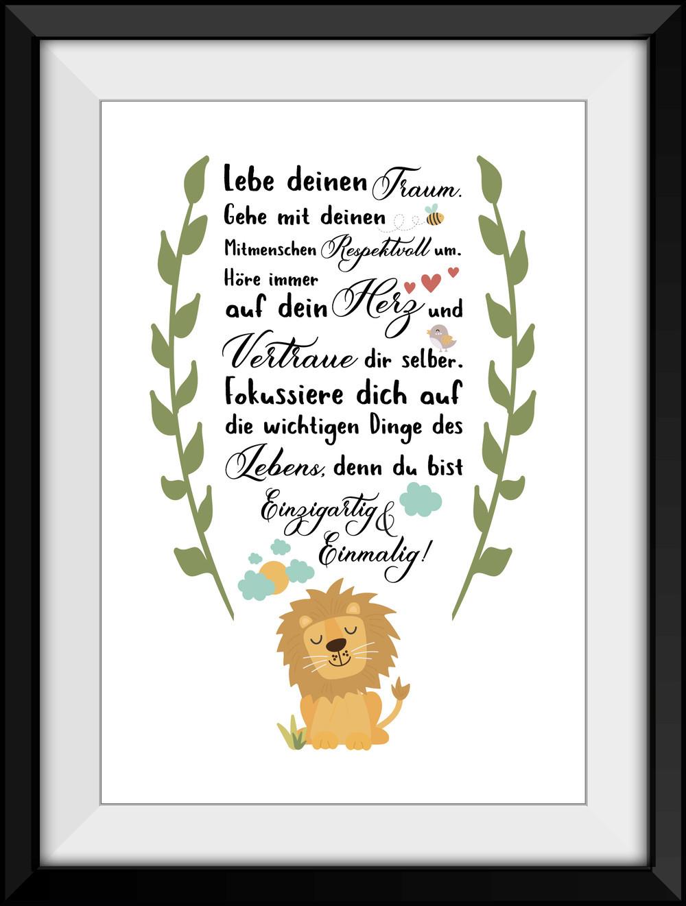 Geburtstagswünsche Zum 1 Geburtstag Von Den Großeltern  Digitaldruck Kunstdruck LÖWE SPRUCH Fine Art Print DIN