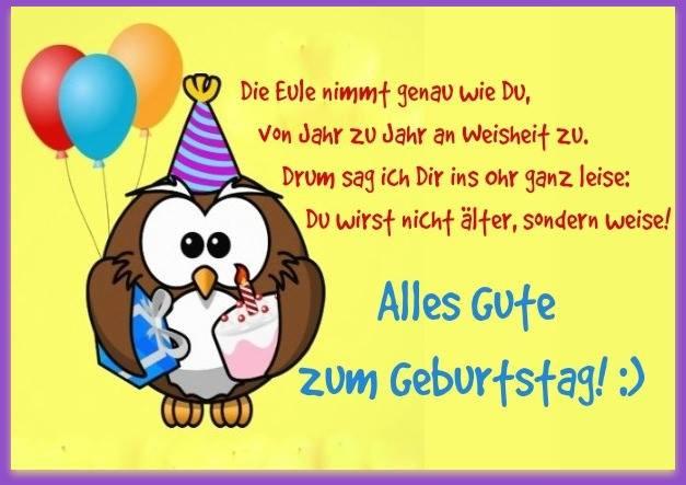Geburtstagswünsche Zum 1 Geburtstag Von Den Großeltern  Die Eule nimmt genau wie Du von Jahr zu Jahr an Weisheit