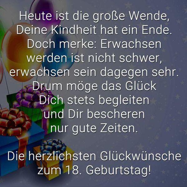 Geburtstagswünsche Zum 18. Geburtstag  Sprüche zum 18 Geburtstag Freche und Lustige Gratulieren