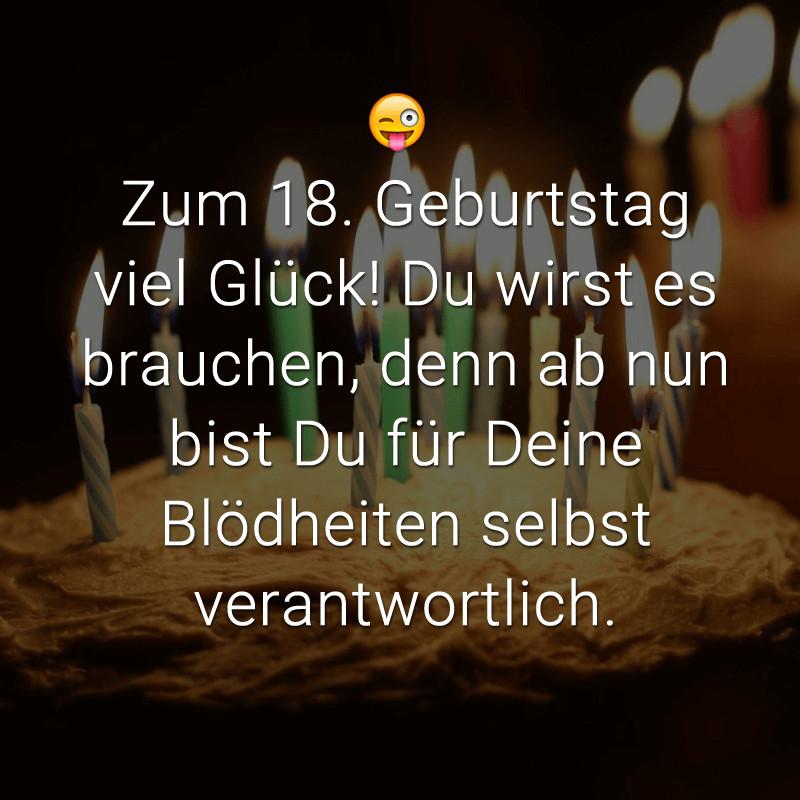 Geburtstagswünsche Zum 18. Geburtstag  Freche Kurze Sprüche Zum 18 Geburtstag