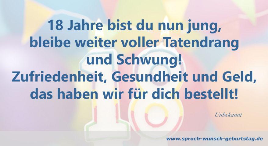 Geburtstagswünsche Zum 18. Geburtstag  Zum 18 Geburtstag Sprüche und Glückwünsche