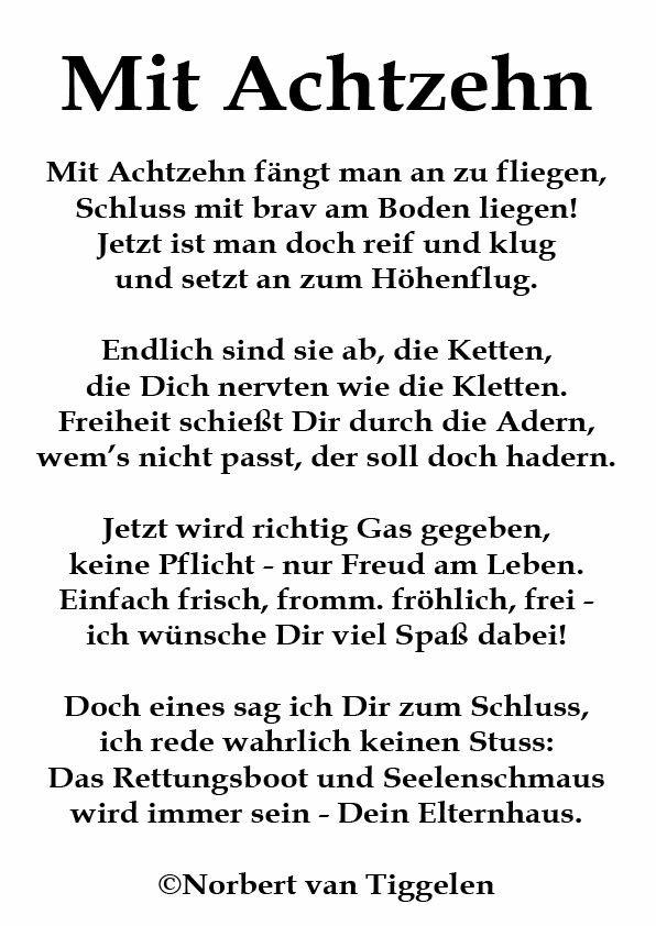 Geburtstagswünsche Zum 18 Lustig  Gedicht zum 18 Geburtstag