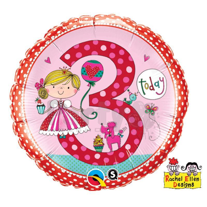 Geburtstagswünsche Zum 3. Geburtstag  Folienballon zum 3 Geburtstag Prinzessin 46 cm