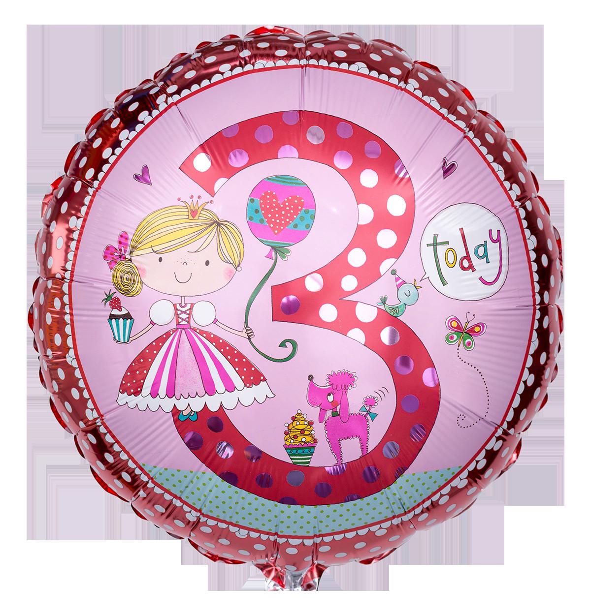 """Geburtstagswünsche Zum 3. Geburtstag  Rosa Zahlenballon """"3"""" für Mädchen"""