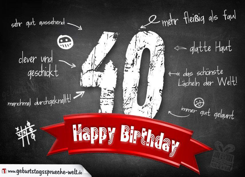 Geburtstagswünsche Zum 40 Mann  Komplimente Geburtstagskarte zum 40 Geburtstag Happy