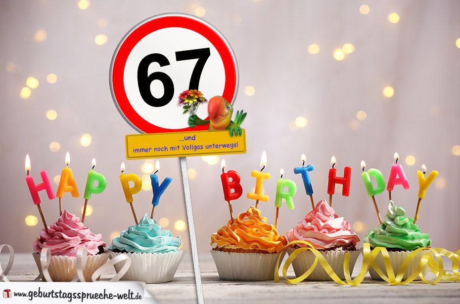 Geburtstagswünsche Zum 55  67 Geburtstag Geburtstagswünsche mit Schild und Alter auf