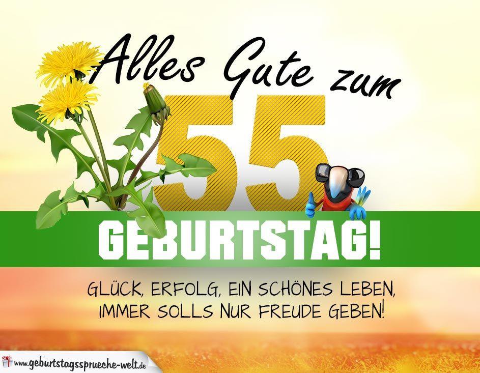Geburtstagswünsche Zum 55  55 Geburtstag Geburtstagskarte ALLES GUTE mit schönem