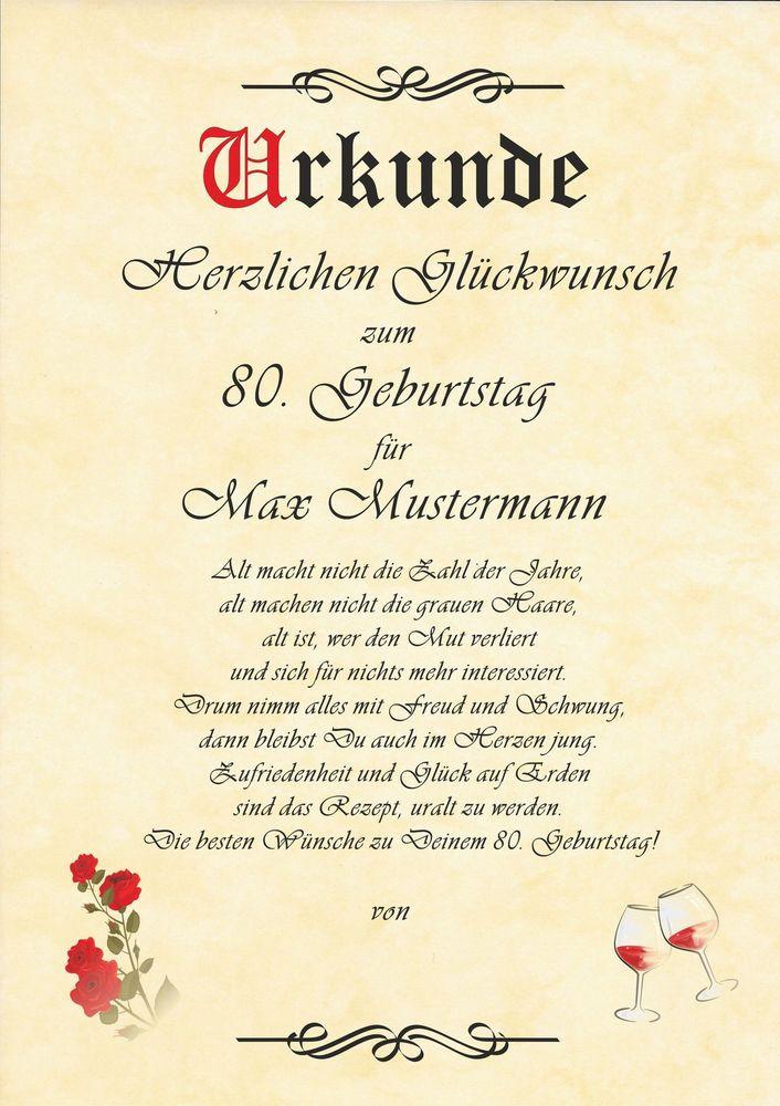 Geburtstagswünsche Zum 80.  Urkunde zum 45 50 60 70 80 90 GEBURTSTAG Geburtstagskarte