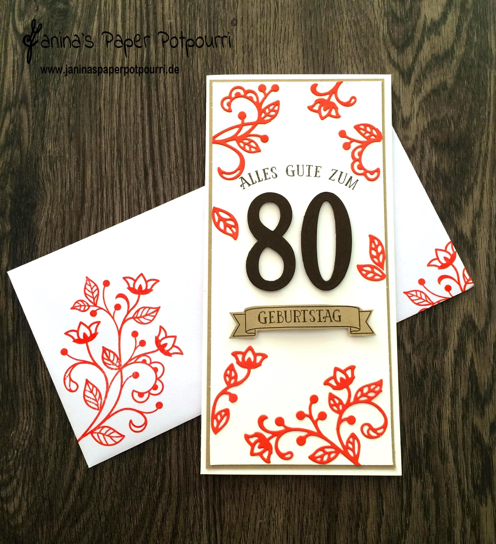 Geburtstagswünsche Zum 80 Geburtstag  Blütenpoesie Karte zum 80 Geburtstag