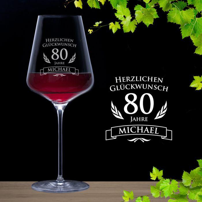 Geburtstagswünsche Zum 80 Geburtstag  Weinglas zum 80 Geburtstag Rotweinglas mit persönlicher