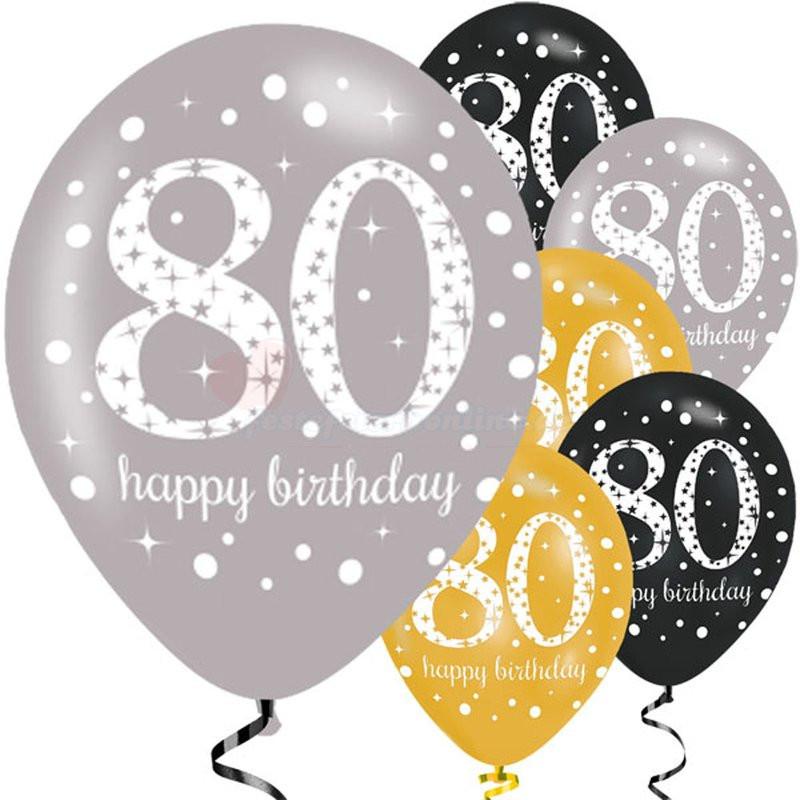 Geburtstagswünsche Zum 80 Geburtstag  Dekorative Luftballon Geburtstags Deko zum 80 Geburtstag
