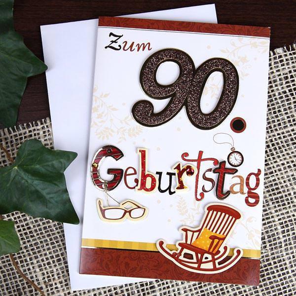Geburtstagswünsche Zum 90. Geburtstag  Glückwunschkarte zum 90 Geburtstag mit Glitzer