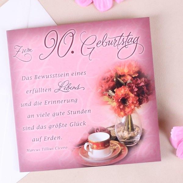Geburtstagswünsche Zum 90. Geburtstag  Karte