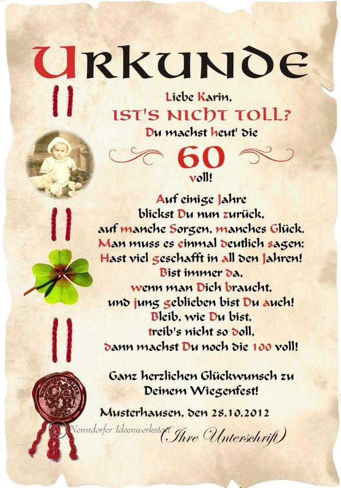 Geburtstagswünsche Zum 90. Geburtstag  Urkunde 60 Geburtstag DIN A4 G3