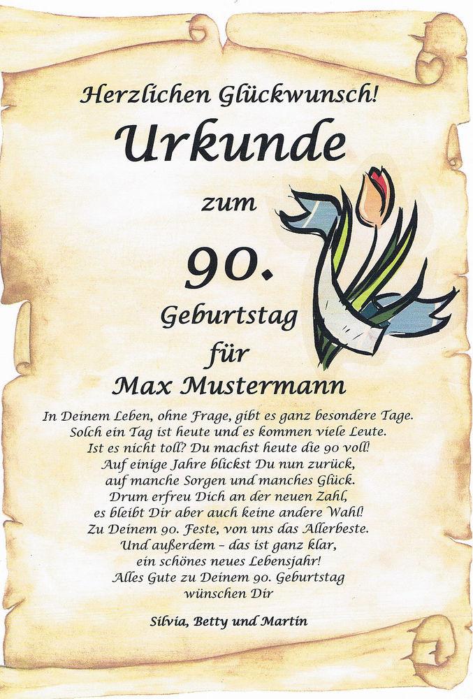 Geburtstagswünsche Zum 90. Geburtstag  URKUNDE ZUM 90 92 95 100 GEBURTSTAG AUSGEFALLENES
