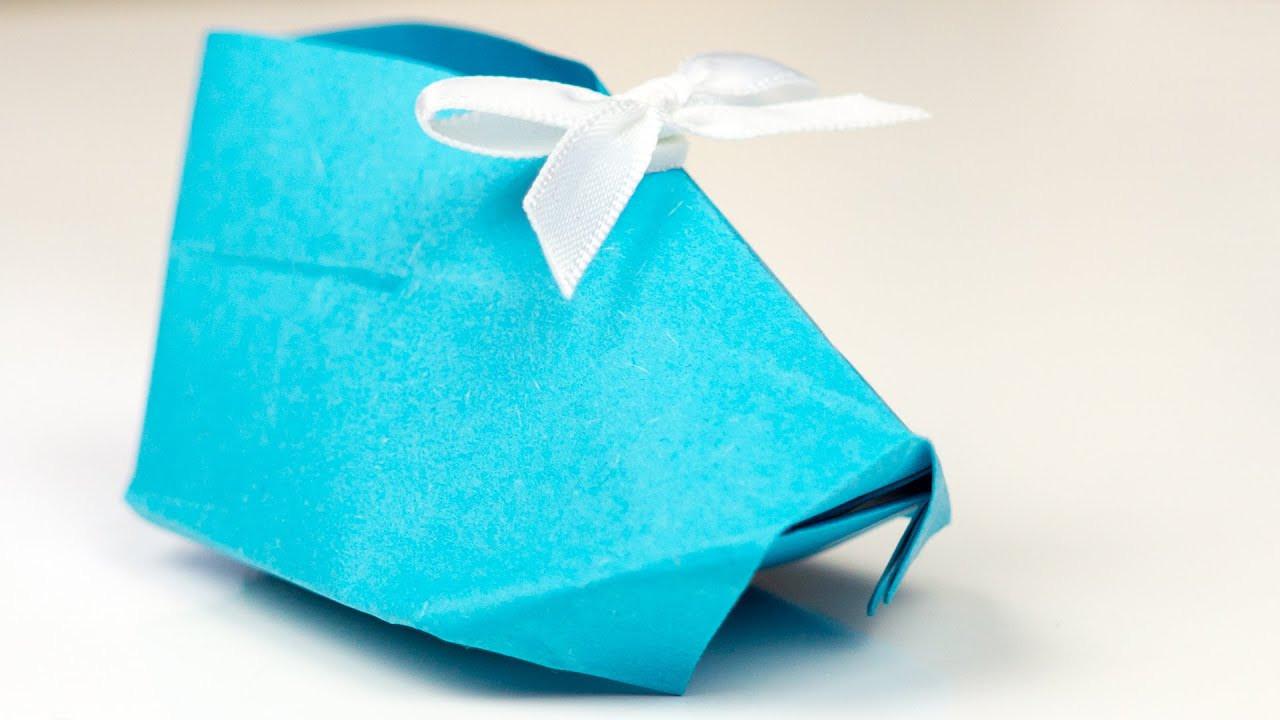 Geldschein Geschenke  Origami BABYSCHUHE aus Papier falten Bastelanleitung