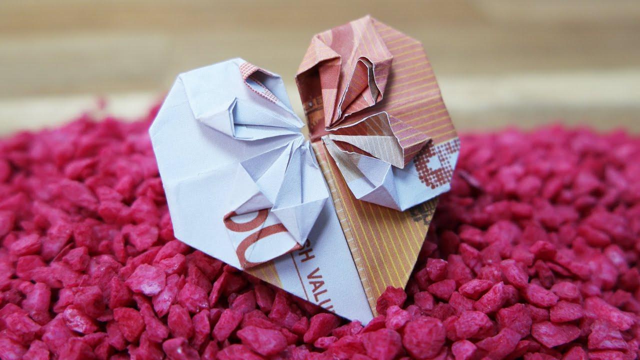 Geldschein Geschenke  Geldscheine falten HERZ ️ Origami GELDGESCHENK zur
