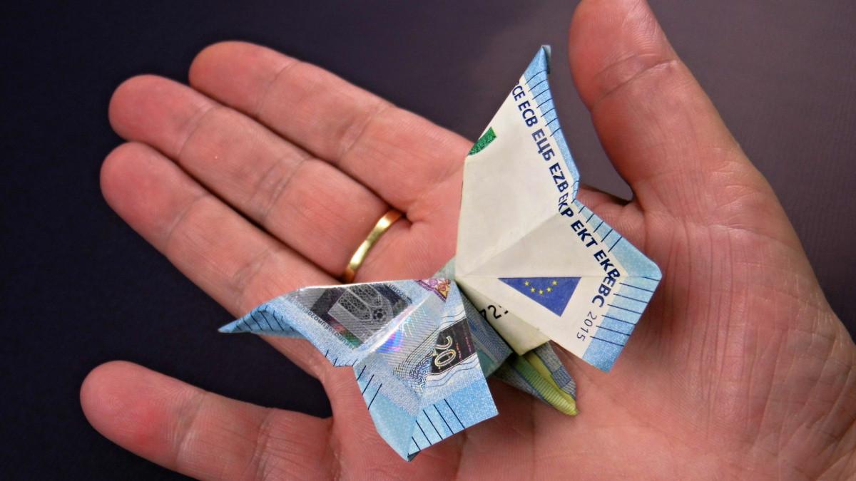 Geldschein Geschenke  Geld falten Schmetterling aus Geldscheine basteln Deko