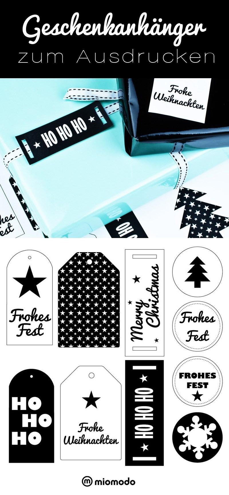 Geschenke Englisch  Geschenkanhänger zum Ausdrucken Weihnachten miomodo DIY