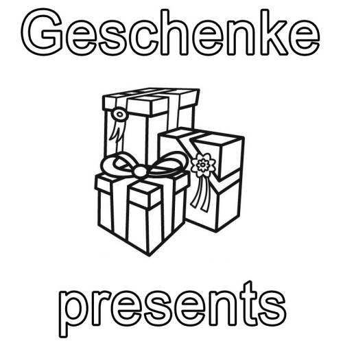 Geschenke Englisch  Kostenlose Malvorlage Englisch lernen Geschenke