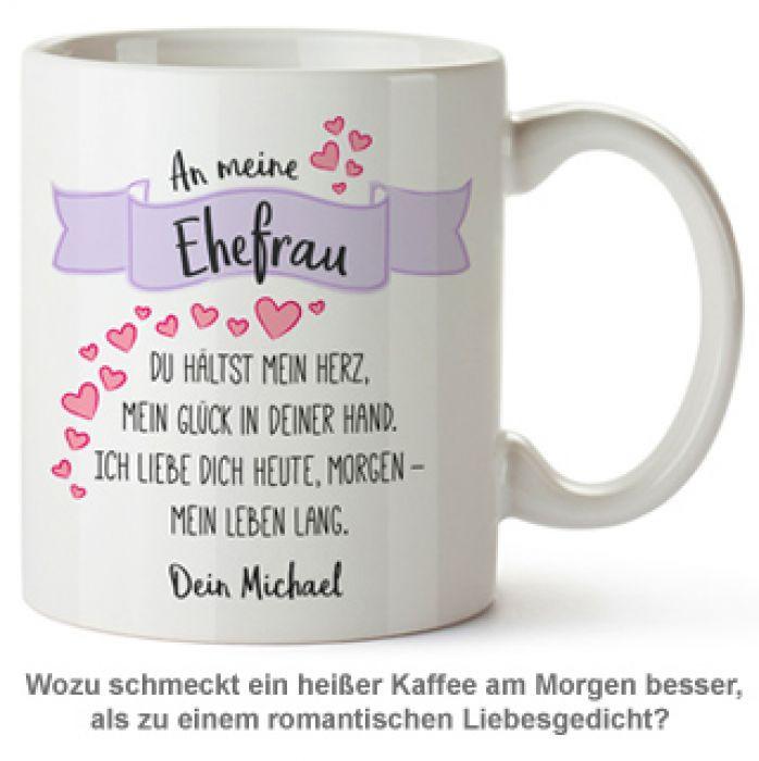 Geschenke Für Ehefrau  Personalisierte Tasse Liebesgedicht Ehefrau mit Widmung