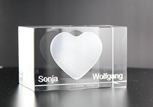 Geschenke Für Ehefrau  3D Glaskristall Herz mit Wunschnamen