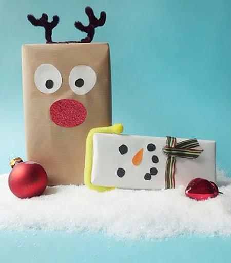 Geschenke Für Kinder Lustig Verpacken  Geschenke verpacken für Kinder Rentiere & Schneemänner