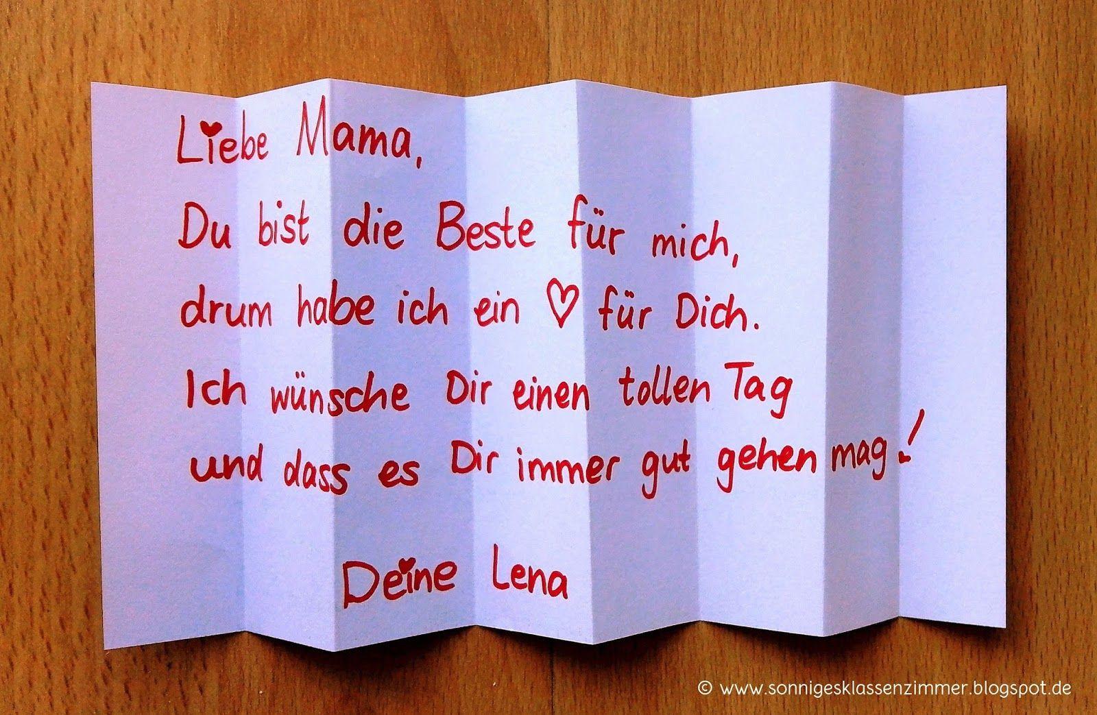 Geschenke Für Mama Basteln  Muttertag Muttertagsgeschenk Basteln Schreiben Gedicht