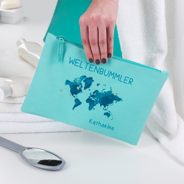 Geschenke Für Weltenbummler  Beautycase für Weltenbummler mit Name
