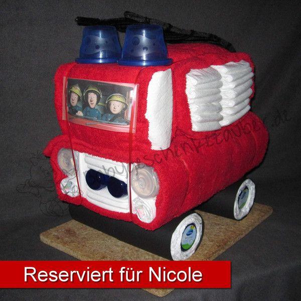 Geschenke Fürs Auto  Windeltorte Feuerwehr von Babygeschenkezauber auf DaWanda