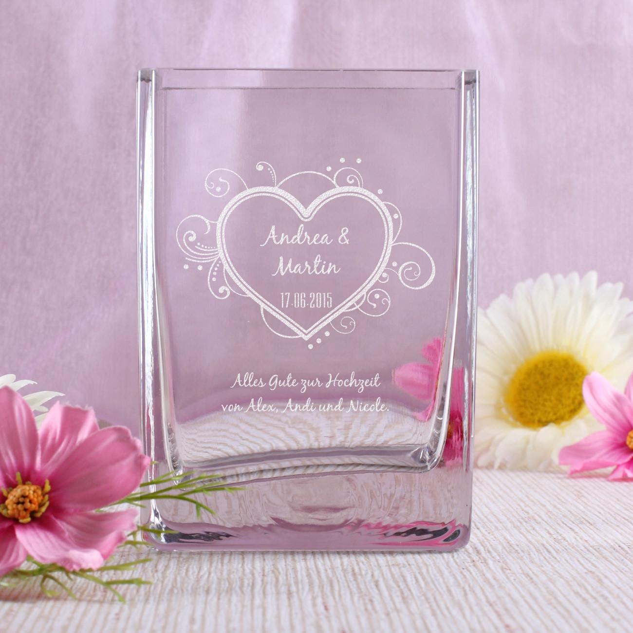 Geschenke Online  gravierte vase mit Ihren Wunschnamen Datum und Wunschtext