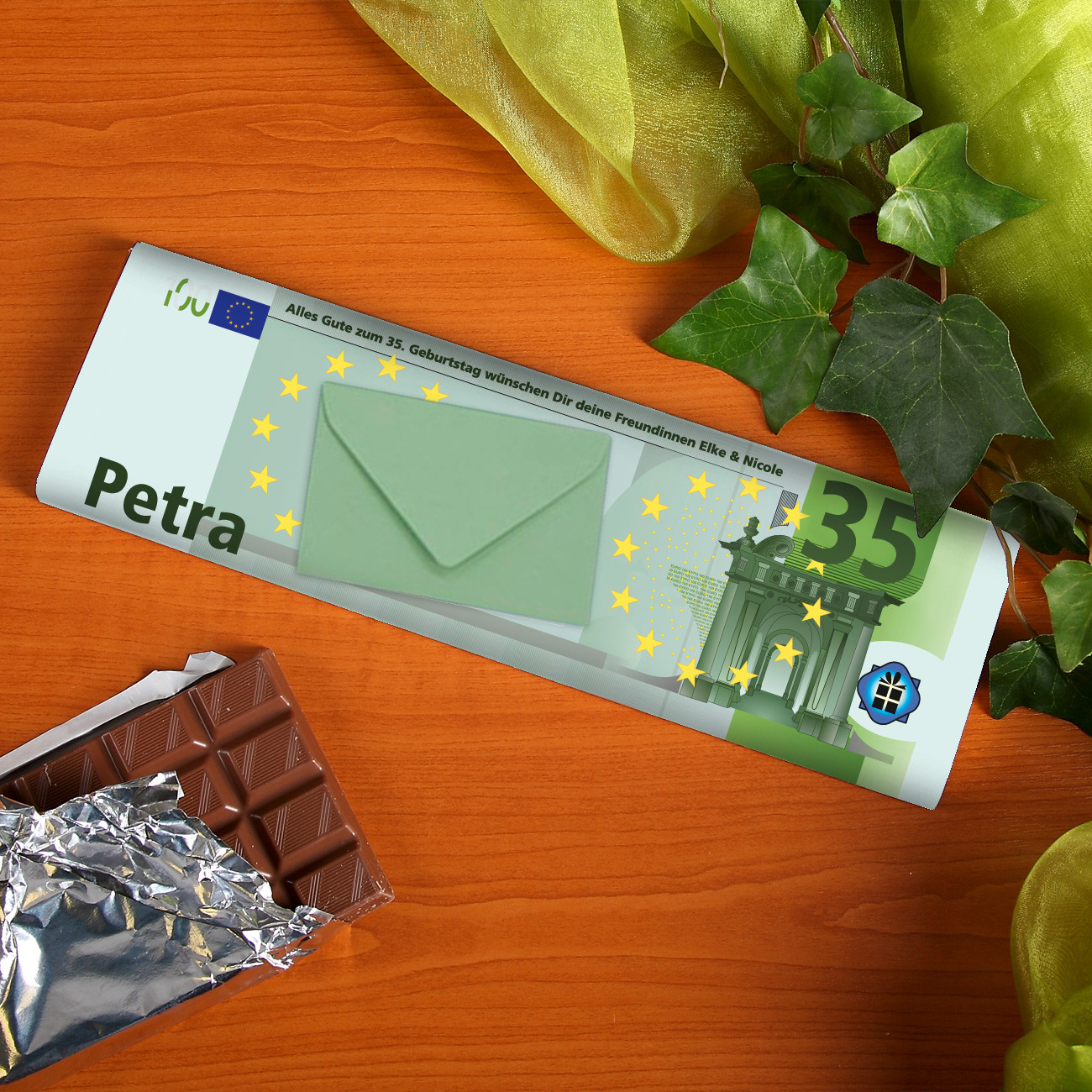 Geschenke Online  Euro Schokolade mit Name Alter und Wunschtext