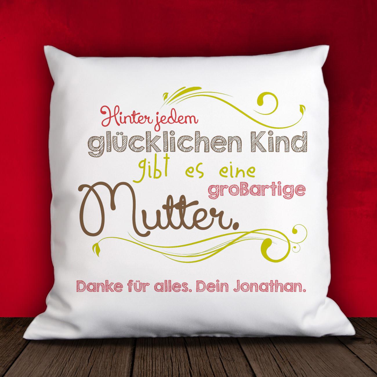 Geschenke Online  Kissen zum Muttertag mit persoenlichem Gruss