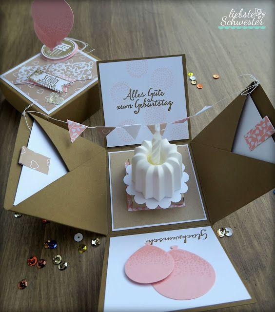 Geschenke Schwester  Pop Up Box eine schöne Überraschung