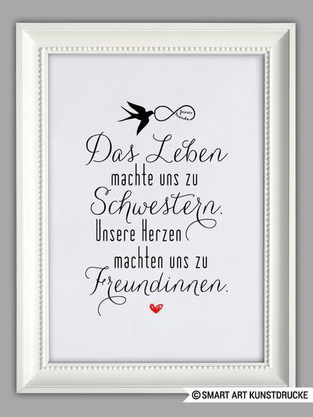"""Geschenke Schwester  """"SCHWESTERHERZ"""" Kunstdruck Geschenk von SMART ART"""