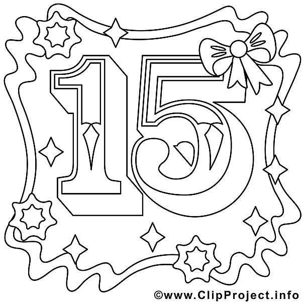 Geschenke Zum 15 Geburtstag  Ausmalbild zum 15 Geburtstag