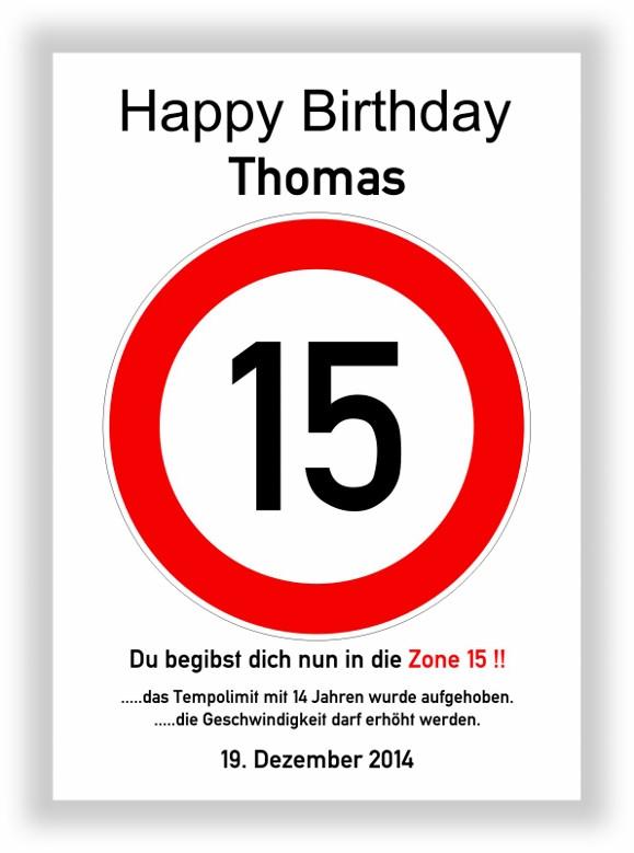 Geschenke Zum 15 Geburtstag  Verkehrszeichen Bild 15 Geburtstag Deko Geschenk