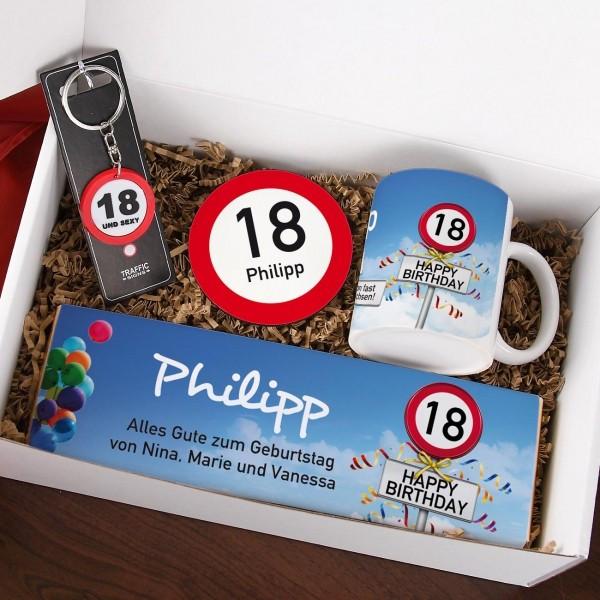 Geschenke Zum 18 Junge  Geschenkbox zum 18 Geburtstag mit Verkehrszeichenmotiv