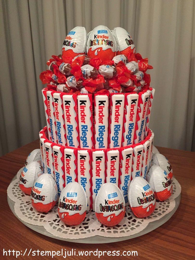 Geschenke Zum 25  Anleitung Ü Eier Kinderriegel Schokobons Torte keine