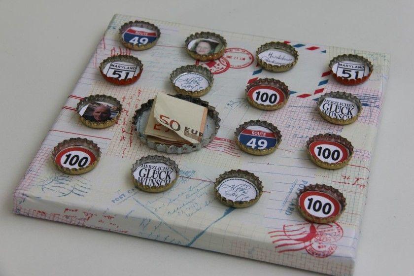 Geschenke Zum 50. Geburtstag Mann  Basteln mit Kronkorken Geldgeschenk zum 50 Geburtstag
