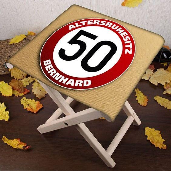Geschenke Zum 50 Geburtstag Männer  Klapphocker mit Namen zum 50 Geburtstag