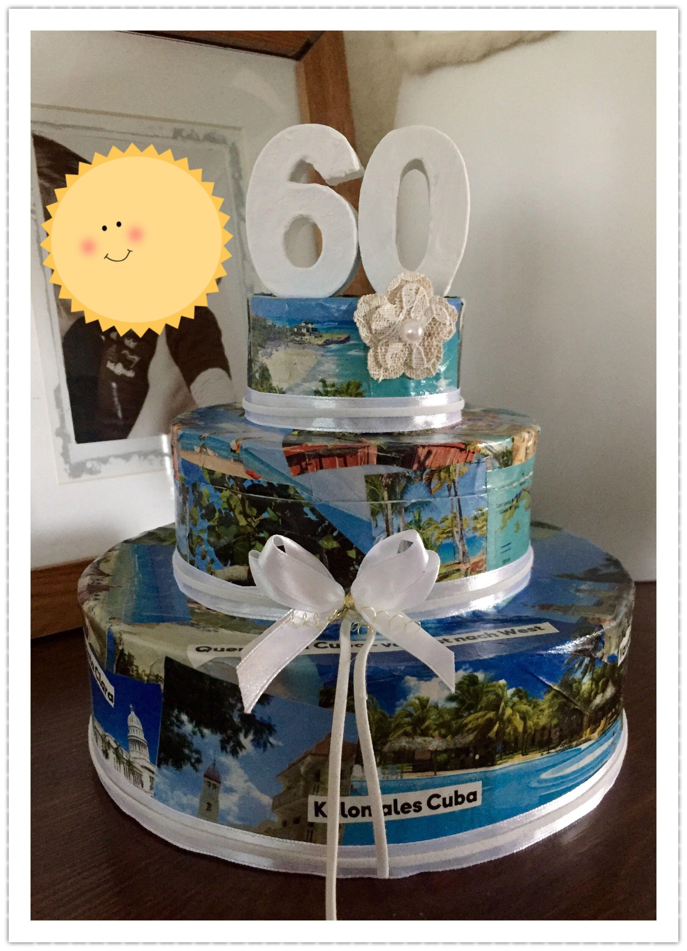 Geschenke Zum 60.Geburtstag  Geldgeschenke Torte mit abnehmbarem Deckel Technik