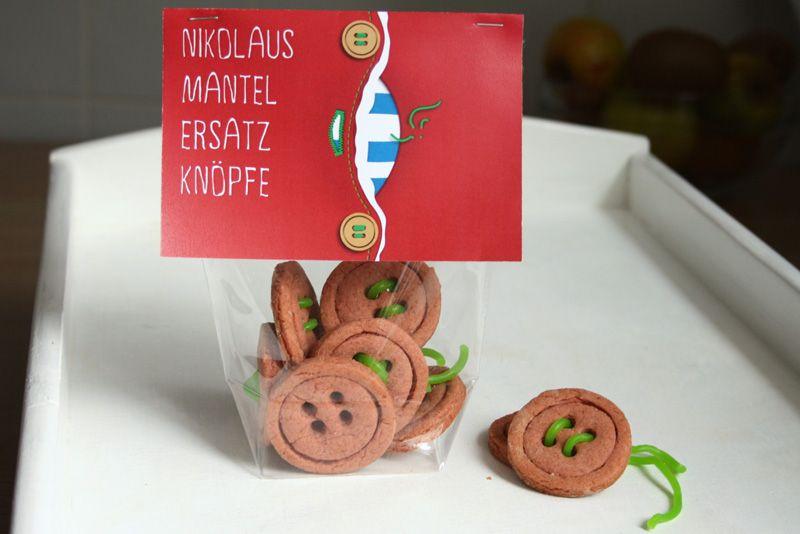 Geschenke Zum Nikolaus  DIY Knopf Kekse Nikolaus Geschenk