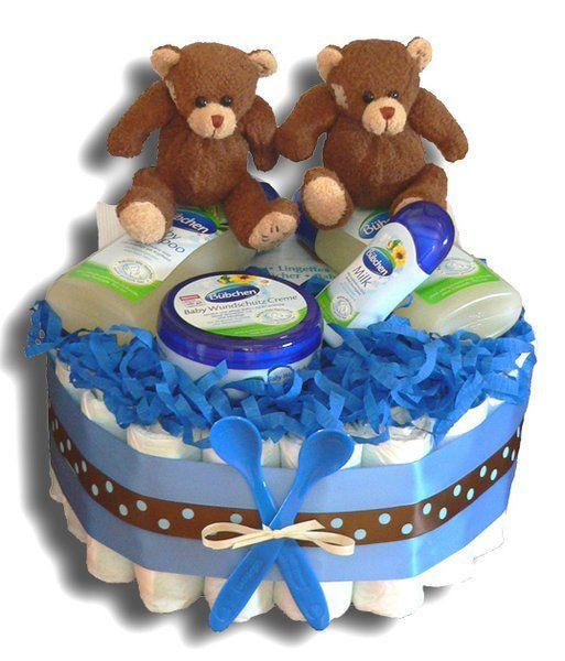 Geschenke Zur Geburt Junge  Zwillinge Windeltorte Jungen klein Geschenk zur Geburt