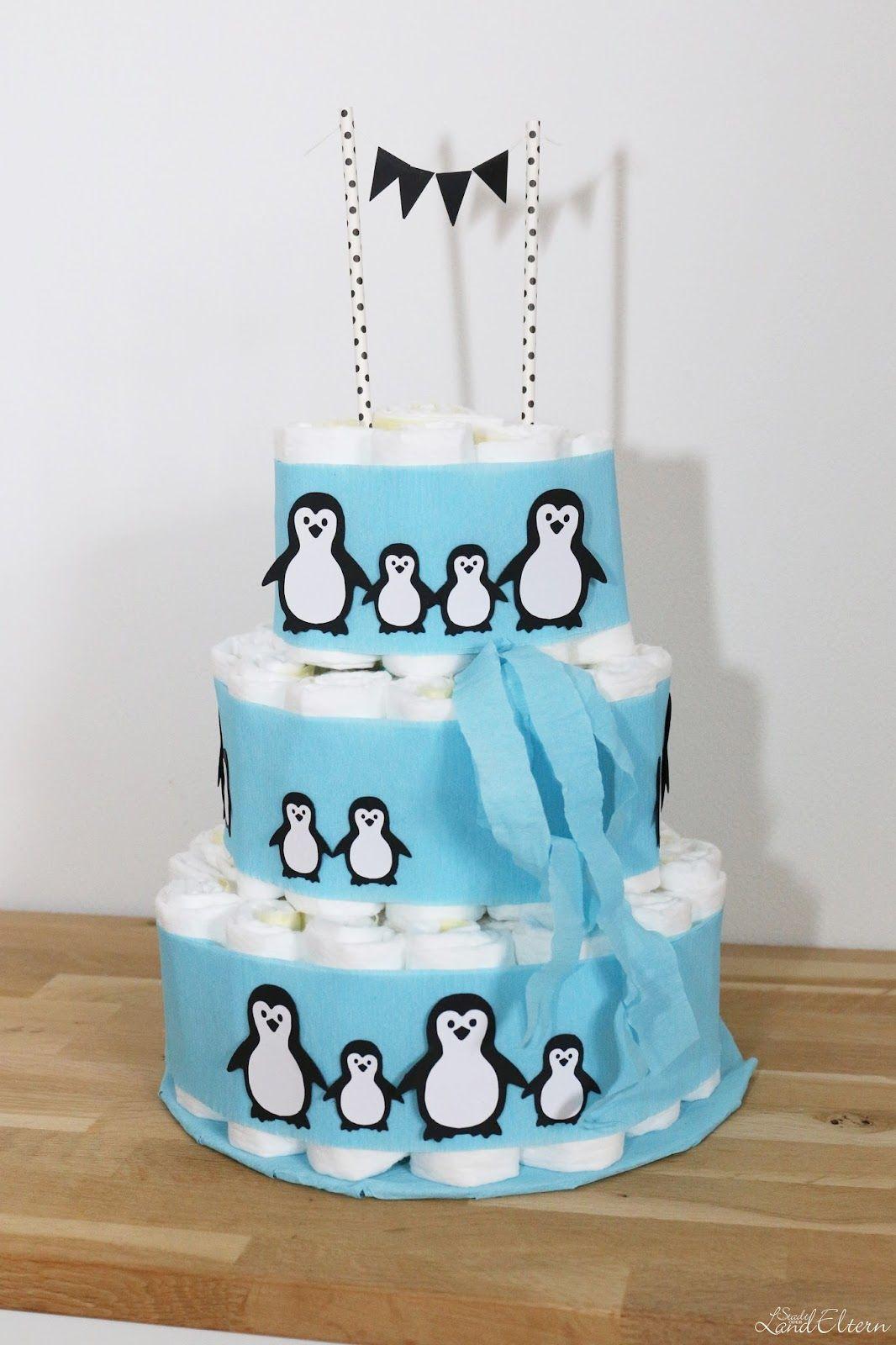 Geschenke Zur Geburt Junge  DIY Windeltorte Pinguine Geschenk zur Geburt oder