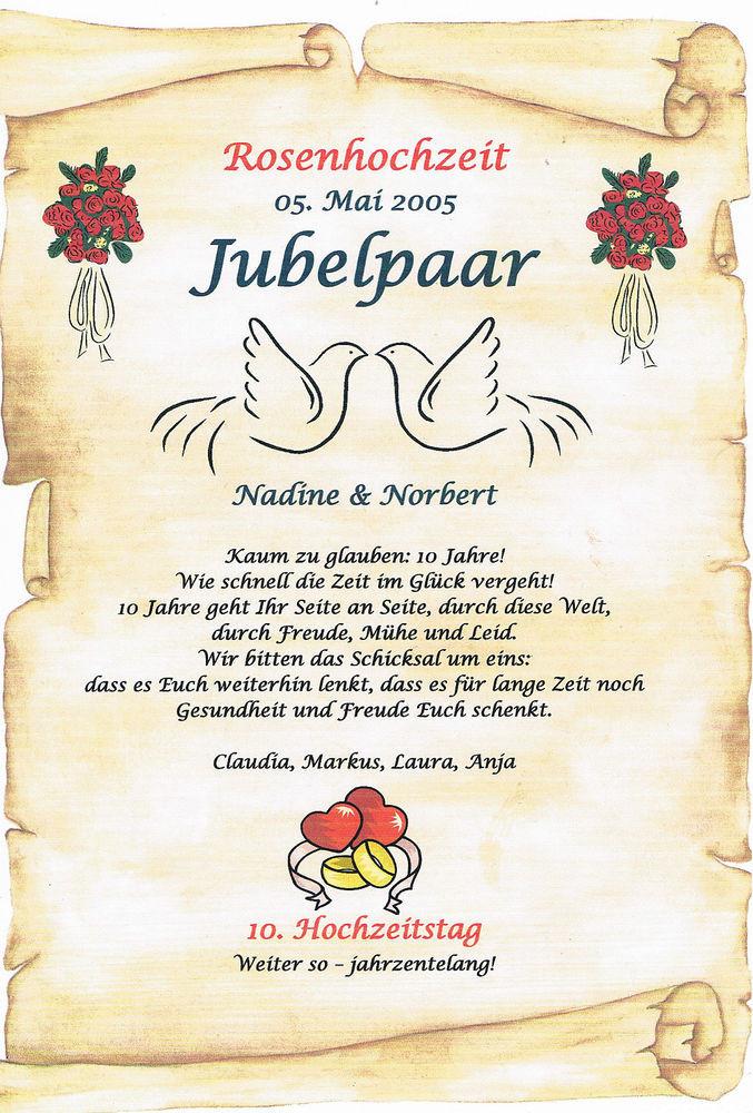 Geschenke Zur Rosenhochzeit  Geschenkidee 10 Jähriger Hochzeitstag ortsschild bild