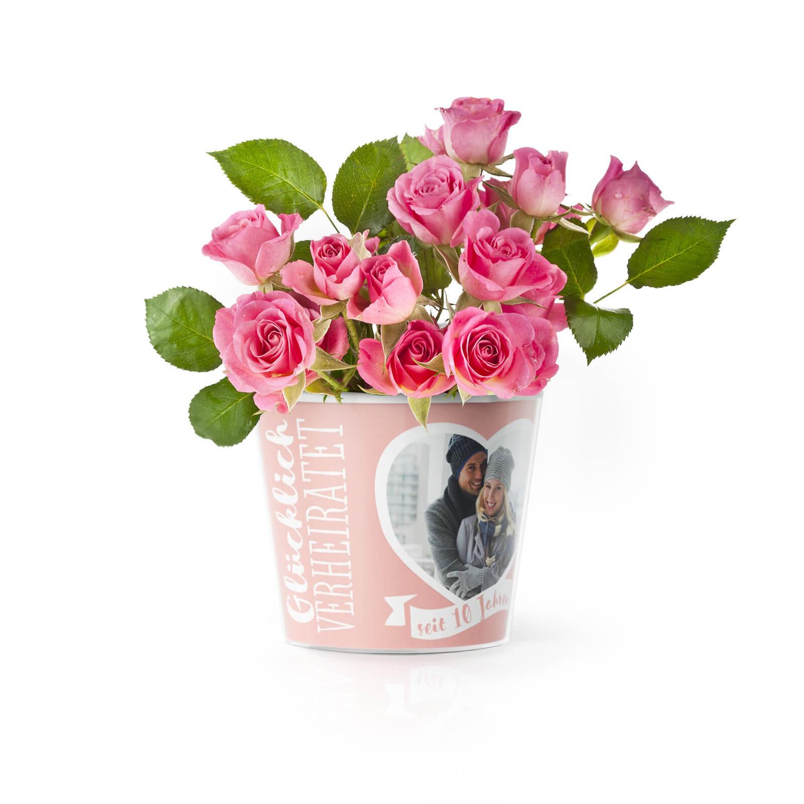 Geschenke Zur Rosenhochzeit  10 Hochzeitstag Rosenhochzeit – Blumentopf von MyFacepot