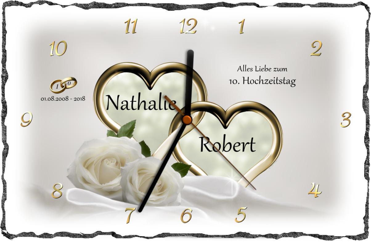 Geschenke Zur Rosenhochzeit  Rosenhochzeit Schieferbild oder Schieferuhr